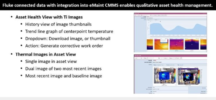 Figure 2. Example of Fluke connected thermography data in eMaint CMMS software