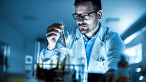 Worker analyzing lubricants